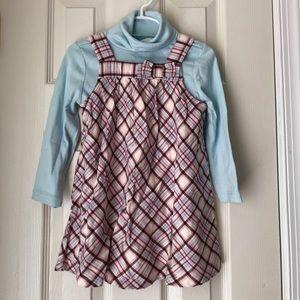 Plaid jumper dress and turtleneck. 2T 3 NWT
